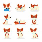 Cute Corgi Dogs Color Vector Illustrations Set. Playful Breed Puppy In Different Poses Cartoon Stick poster