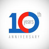 10 Th Anniversary Numbers. 10 Years Old Congrats, Colorful Logotype. Congratulation Idea. Isolated A poster