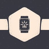 Grunge Smart Watch With Smart House And Alarm Icon Isolated On Grey Background. Security System Of S poster