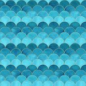 Mermaid Fish Scale Wave Japanese Magic Seamless Pattern. Watercolor Hand Drawn Bright Teal Color Bac poster
