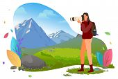 Photographer With Photo Camera In Mountains Vector. Traveler Shooting Or Photographing Wild Nature A poster
