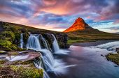 Iceland Landscape Summer Panorama, Kirkjufell Mountain At Sunset With Waterfall In Beautiful Light poster