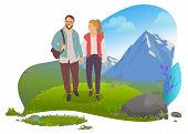 Couple Hiking In Mountains, Man And Woman, Date Vetcor. Walking With Backpack, Camping Or Backpackin poster