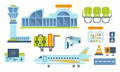 Airport Design Elements Set, Airport Terminal, Airplane, Waiting Room Vector Illustration poster