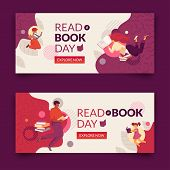 Read A Book Day Banner Set. Modern Flat And Simple Design Illustration With Faceless Smiling Family  poster