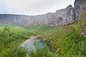 Iceland Landscape. Asbyrgi Glacial Canyon And Botnstjorn Lake, Iceland. poster