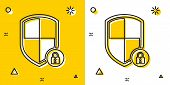 Black Shield Security With Lock Icon Isolated On Yellow And White Background. Protection, Safety, Pa poster