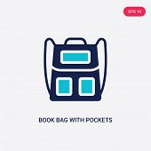 Two Colored Book Bag With Pockets Vector Icon From Airport Terminal. 2 Color Book Bag With Pockets C poster