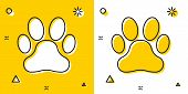 Black Paw Print Icon Isolated On Yellow And White Background. Dog Or Cat Paw Print. Animal Track. Ra poster