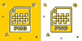 Black Png File Document. Download Png Button Icon Isolated On Yellow And White Background. Png File  poster