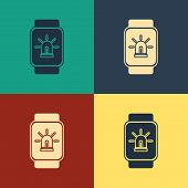 Color Smart Watch With Smart House And Alarm Icon Isolated On Color Background. Security System Of S poster