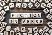Fiction In Verse - Word From Wooden Blocks With Letters, Literary Genres Concept, Random Letters Aro poster