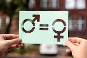 Hands Holding Paper With Cutout Gender Equality Outdoors poster