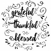 Thankful Grateful Blessed Vector Hand Drawn Card Decorated Floral Ornament poster