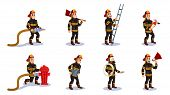 Firemen Characters Set Flat Cartoon Vector Illustration. Firefighter In Different Situations With Re poster