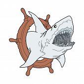 Blue Shark Logo Vector, Shark , Shark Swimming, Shark Illustration. Shark Illustration Vector. Shark poster