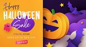 Halloween Sale Promotion Banner With Cutest Pumpkin, Bats And Ghost In Night Clouds. Paper Cut, Digi poster