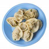Dumplings On A Light Blue Plate Isolated On White Background .boiled Dumplings.meat Dumplings Top Si poster