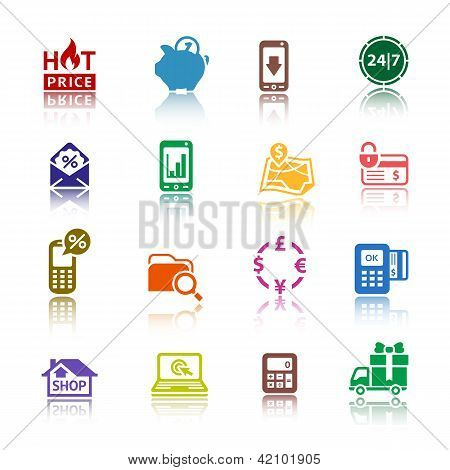 Set pictograms Shopping Icons. Color with reflection