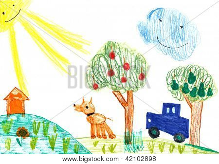 dog and auto on meadow. child's drawing
