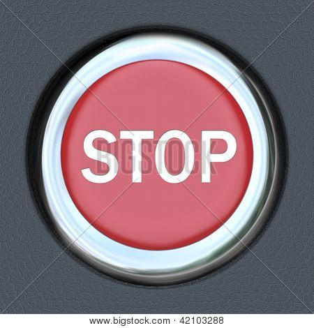 A red car ignition button with the word Stop to symbolize danger or emergency and the immediate need to turn off the engine