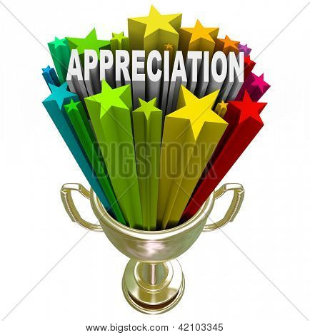 An employee, customer or partner is awarded with this golden trophy with stars and the word Appreciation shooting out of it in recognition of outstanding effort, loyalty or hard work performed