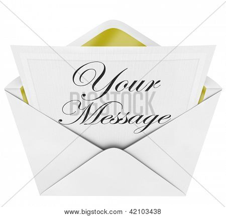 The words Your Message on a note card or invitation and an open envelope to share your announcement