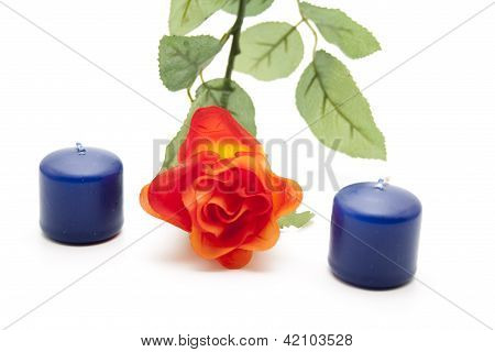 Red Flower with Blue Candles