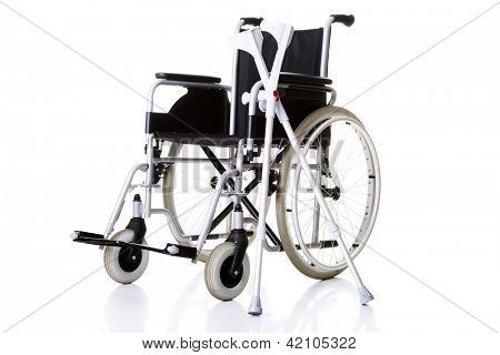 Invalid chair, wheelchair and crutches- isolated on white background