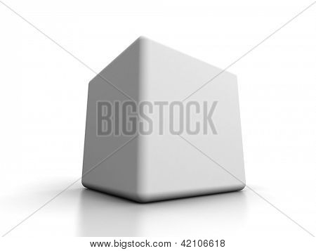 Blank white box isolated on white  background with reflection