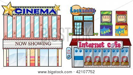 Illustration of a set of shops