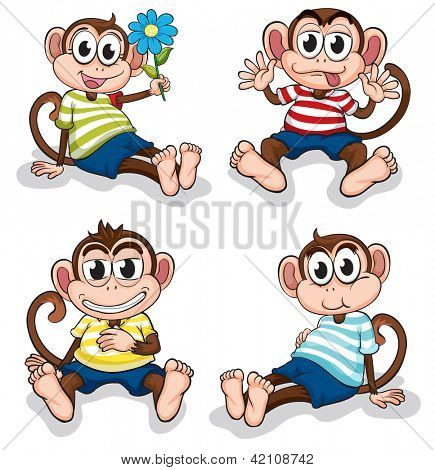 Illustration of monkeys with different facial expressions on a white background