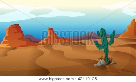 Illustration of a sad cactus in the middle of nowhere