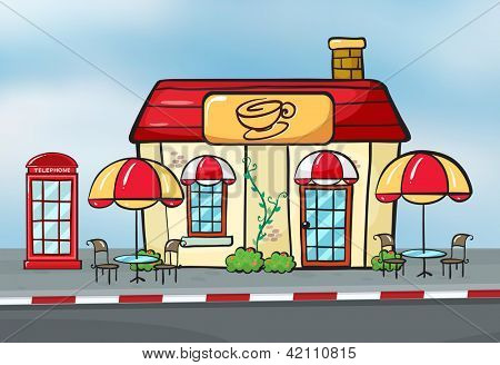 illustration of a coffee shop and a callbox near a street