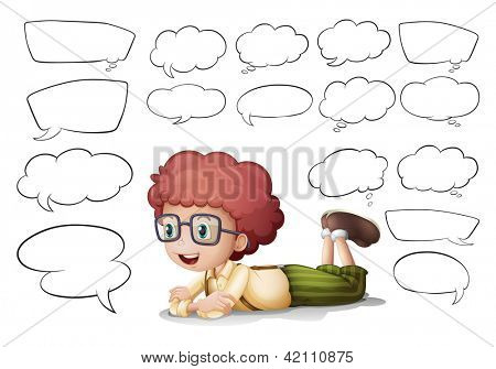 Illustration of a boy and the different shapes of callouts on a white background