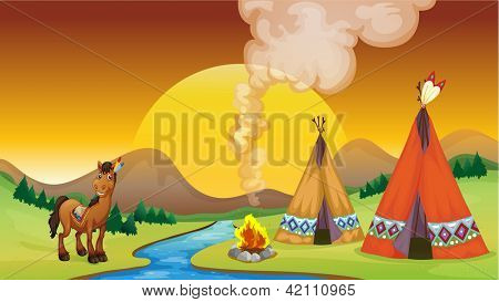 Illustration of a camp fire and a sun set near the river