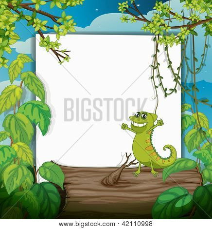 Illustration of a dacing chameleon and a white board in a beautiful nature