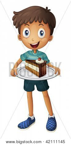 Illustration of a smiling boy with cake on a white background