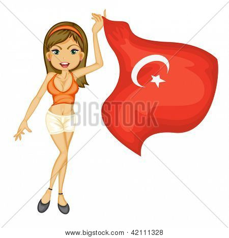 Illustration of a smiling girl with a national flag of turkey on a white background