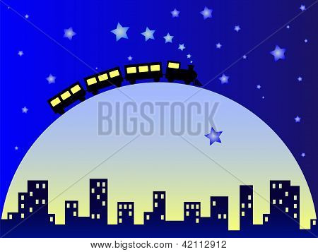 Dreamy city with moon and train
