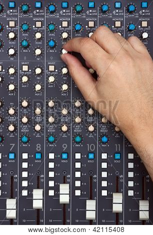 Hand On Mixing Desk