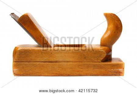 Old wooden planer isolated on a white background.