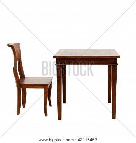 Wooden chair and table isolated