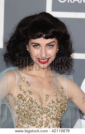 LOS ANGELES - FEB 10:  Kimbra arrives at the 55th Annual Grammy Awards at the Staples Center on February 10, 2013 in Los Angeles, CA