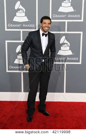 LOS ANGELES - FEB 10:  Drake arrives at the 55th Annual Grammy Awards at the Staples Center on February 10, 2013 in Los Angeles, CA