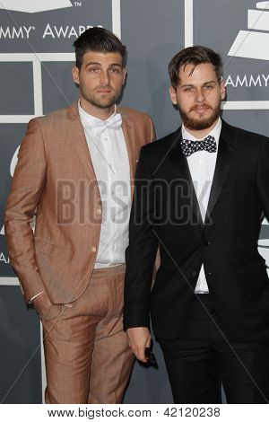 LOS ANGELES - FEB 10:  Foster The People arrives at the 55th Annual Grammy Awards at the Staples Center on February 10, 2013 in Los Angeles, CA