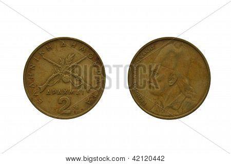 Two greek drachma