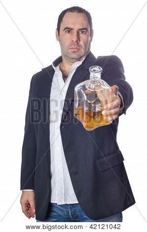 Drunk  Man Offering A Bottle Of Whisky