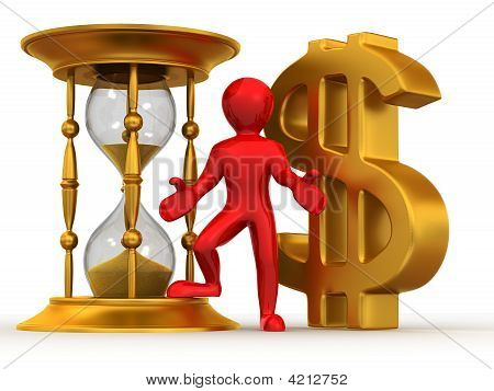Man With Hourglass And Dollar