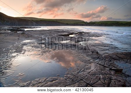 Kimmeridge Bay Sunrise Landscape, Dorset England